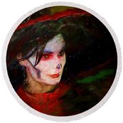The Lady In Red Round Beach Towel