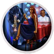 The Lady Jazz Singer Round Beach Towel