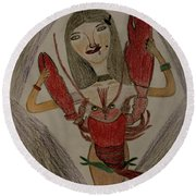 Round Beach Towel featuring the painting The Lady by Lorna Maza