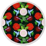 The Ladybird And The Hummingbird Round Beach Towel