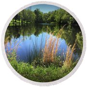 The Lake At Musgrove Mill Round Beach Towel