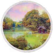 The Lake Round Beach Towel