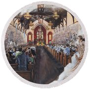 The Lamb's Supper Round Beach Towel