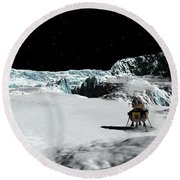 The Lander Ulysses On Europa Round Beach Towel