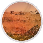 The Landscape Of Dungeness Beach, England 2 Round Beach Towel