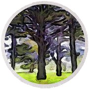 The Landscape With The Trees In A Row Round Beach Towel