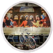 Round Beach Towel featuring the photograph The Last Bicycle Discussion by Craig J Satterlee