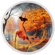The Last Dance Of Autumn - Fantasy Art  Round Beach Towel by Giada Rossi