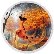 The Last Dance Of Autumn - Fantasy Art  Round Beach Towel