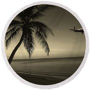 The Last Flight Out Round Beach Towel by Susanne Van Hulst