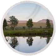 The Last Light At Loch Ba Round Beach Towel