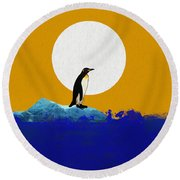 The Last Penguin Round Beach Towel by Dan Sproul