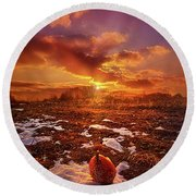 Round Beach Towel featuring the photograph The Last Pumpkin by Phil Koch
