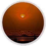 Round Beach Towel featuring the photograph The Last Rays by Sher Nasser