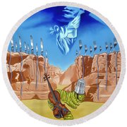 Round Beach Towel featuring the painting The Last Soldier An Ode To Beethoven by Paxton Mobley