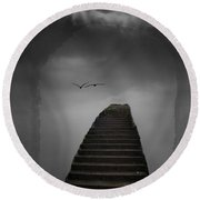 Round Beach Towel featuring the photograph The Last Steps by Keith Elliott