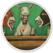 The Laughing Donkeys Round Beach Towel by Leah Saulnier The Painting Maniac