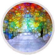 The Laughing Forest Round Beach Towel