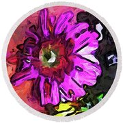 The Lavender Flower Above The Yellow Flower Round Beach Towel