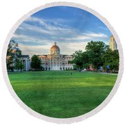 The Lawn At Christopher Newport College Round Beach Towel