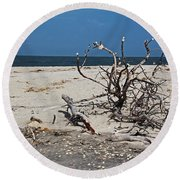 Round Beach Towel featuring the photograph The Laws Of Gravity by Michiale Schneider