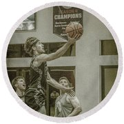 Round Beach Towel featuring the photograph The Layup by Ronald Santini