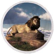 Round Beach Towel featuring the digital art The Lazy Lion by Daniel Eskridge