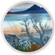 The Leaves Are Gone But... Round Beach Towel