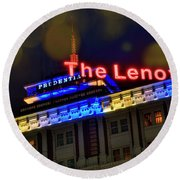 Round Beach Towel featuring the photograph The Lenox And The Pru - Boston Marathon Colors by Joann Vitali