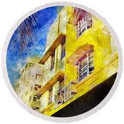 The Leslie Hotel South Beach Round Beach Towel by Jon Neidert
