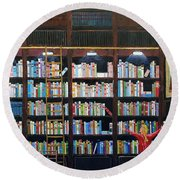 The Library Round Beach Towel