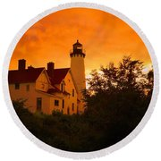 The Light At Dusk Round Beach Towel