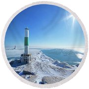 Round Beach Towel featuring the photograph The Light Keepers by Phil Koch