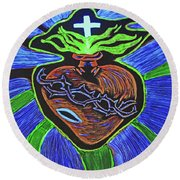 The Light Of The Sacred Heart Round Beach Towel by Lisa Brandel
