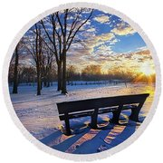 Round Beach Towel featuring the photograph The Light That Beckons by Phil Koch