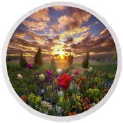 The Light That Shines Our Way Home Round Beach Towel