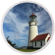 The Lighthouse At Cape Blanco Round Beach Towel by James Eddy