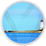 The Lighthouse At Sea Round Beach Towel