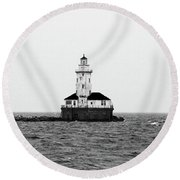 The Lighthouse Black And White Round Beach Towel