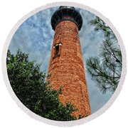 The Lighthouse Round Beach Towel by David Stasiak