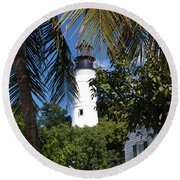The Lighthouse In Key West II Round Beach Towel