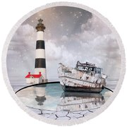 Round Beach Towel featuring the photograph The Lighthouse by Juli Scalzi