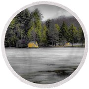 Round Beach Towel featuring the photograph The Lighthouse On Frozen Pond by David Patterson