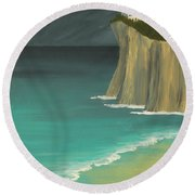 The Lighthouse On The Cliff Round Beach Towel