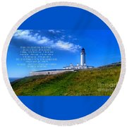 The Lighthouse On The Mull With Poem Round Beach Towel