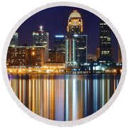 The Lights Of A Louisville Night Round Beach Towel by Frozen in Time Fine Art Photography