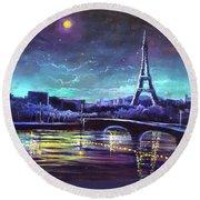 The Lights Of Paris Round Beach Towel by Randy Burns
