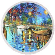 The Lights Of The Sleeping City Round Beach Towel