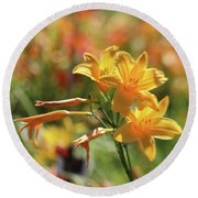 The Lilies Arrayed Round Beach Towel