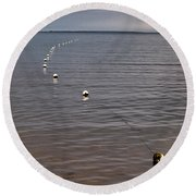 Round Beach Towel featuring the photograph The Line by Jouko Lehto